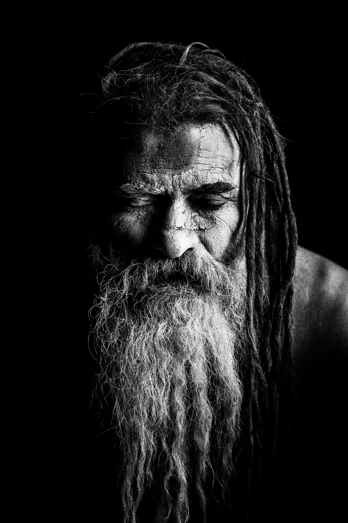 Eyes Closed Portrait of a Nepalese Sadhu: Black and White Portrait Photography by Jean Tran and Élysée Lang