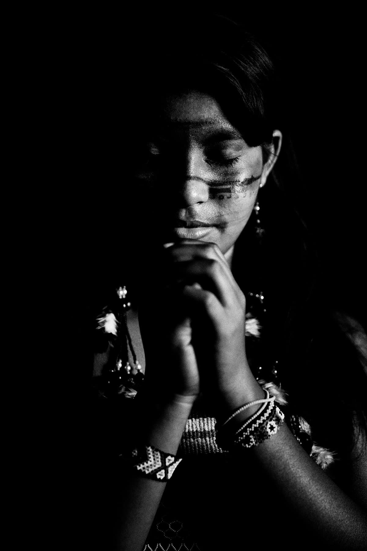 Eyes Closed Portrait of a Guajajara: Black and White Portrait Photography by Jean Tran and Élysée Lang